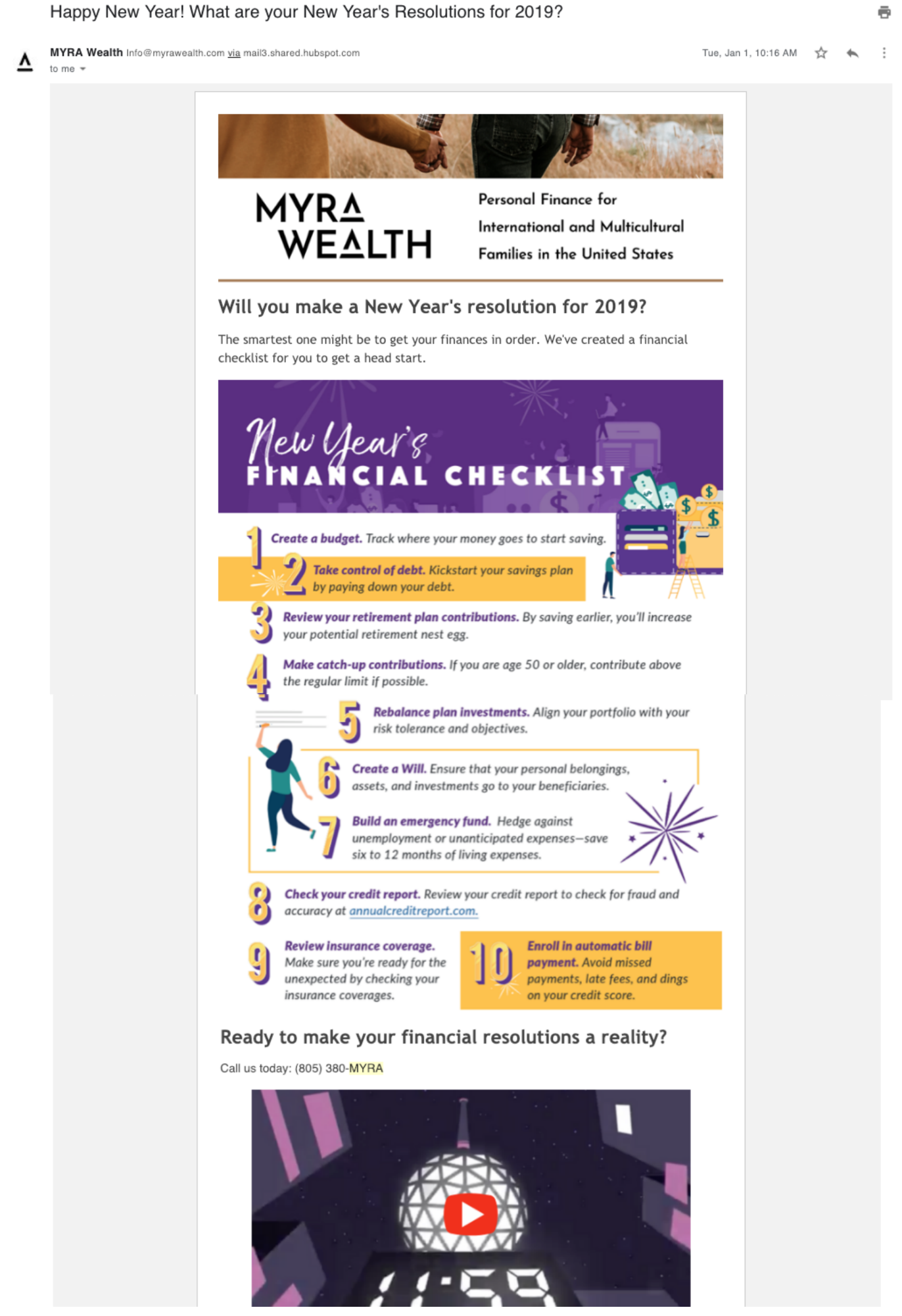 best financial advisor email marketing campaign - myra wealth