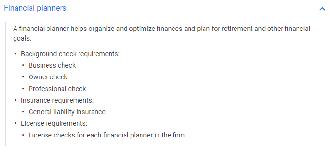 Financial planners LSA qualifications