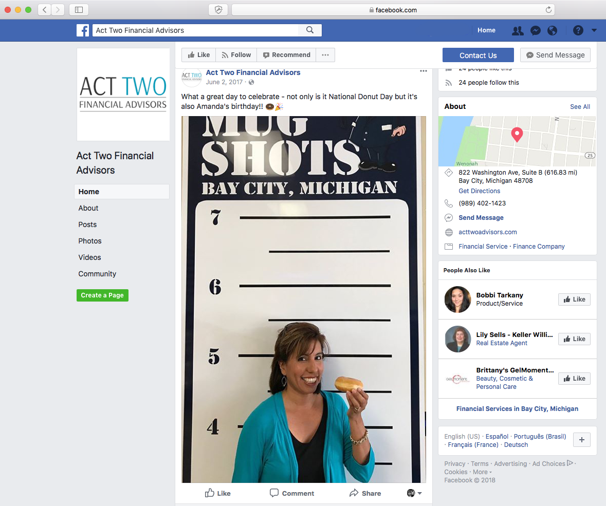 An example of a financial advisor business using Facebook to show a fun behind-the-scenes moment.
