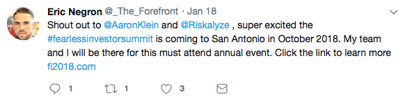 A financial advisor uses this by mentioning partners in a tweet about an upcoming event.