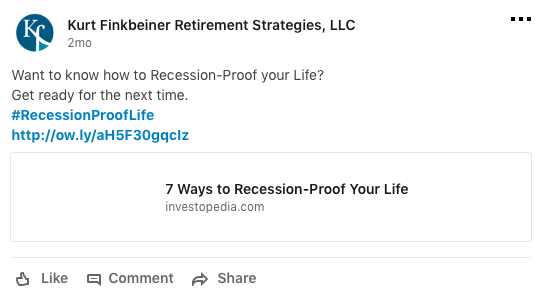 An example of a financial advisor business sharing third-party articles from Investopedia on their company LinkedIn page.