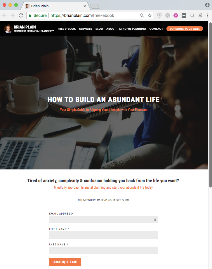 financial advisor landing page example