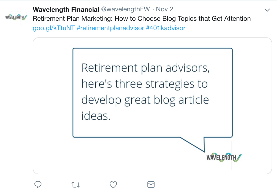 Wavelength Financial tweets an article that relates to its audience.