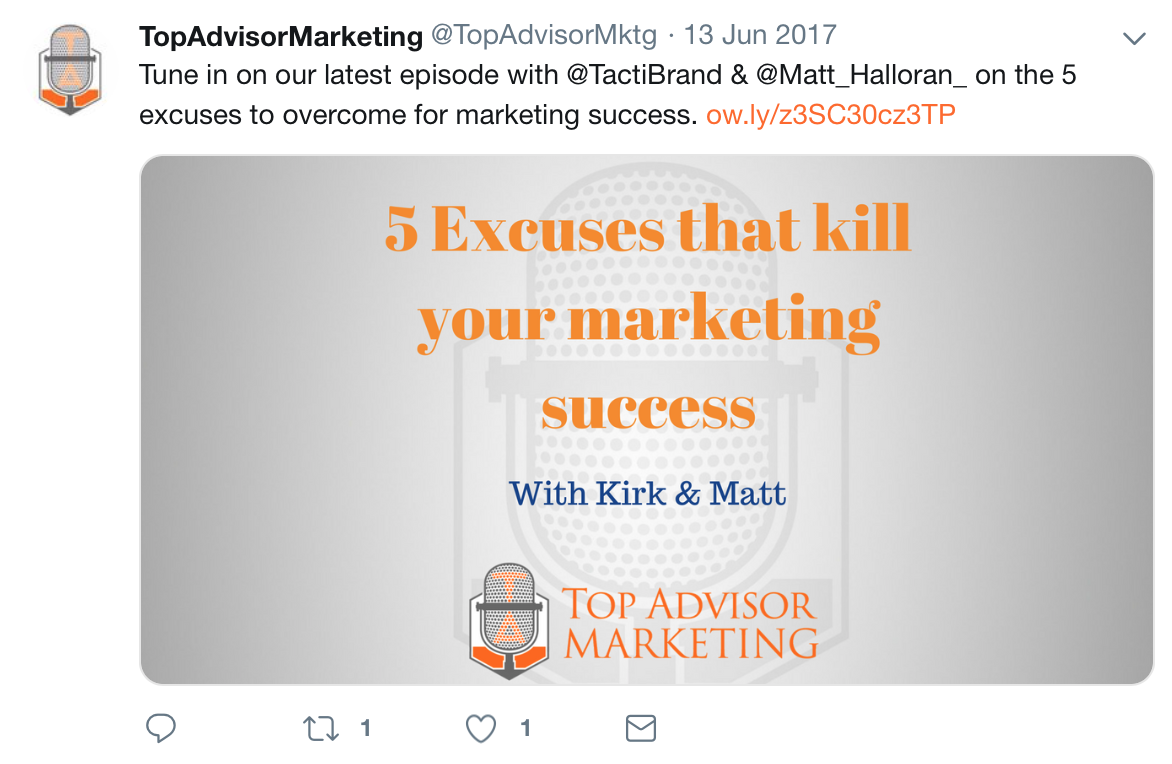 Top Advisor Marketing tweets about its recent podcast and includes a link for easy access.