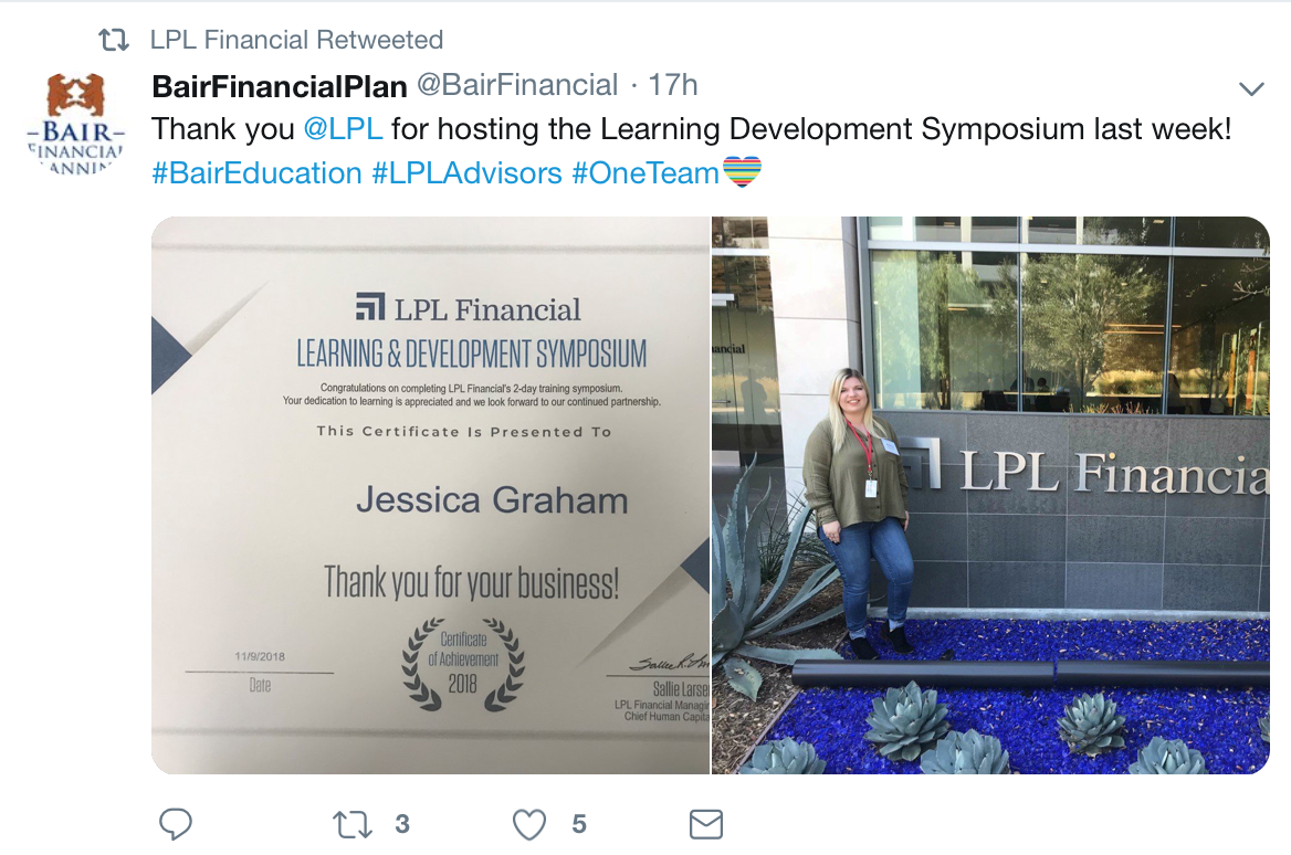 LPL Financial retweets a tweet it was tagged in