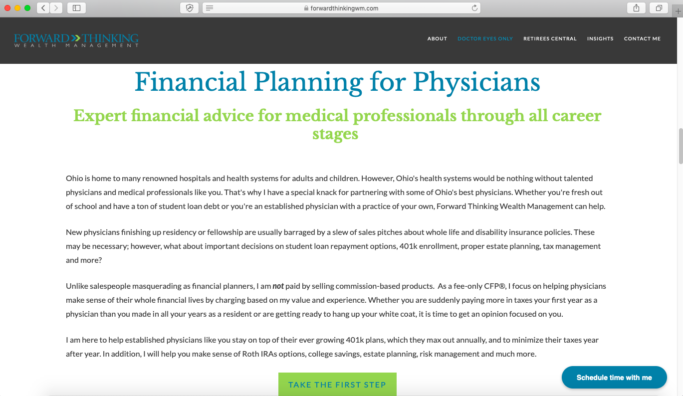 financial advisor niche, physicians, forward thinking wealth management
