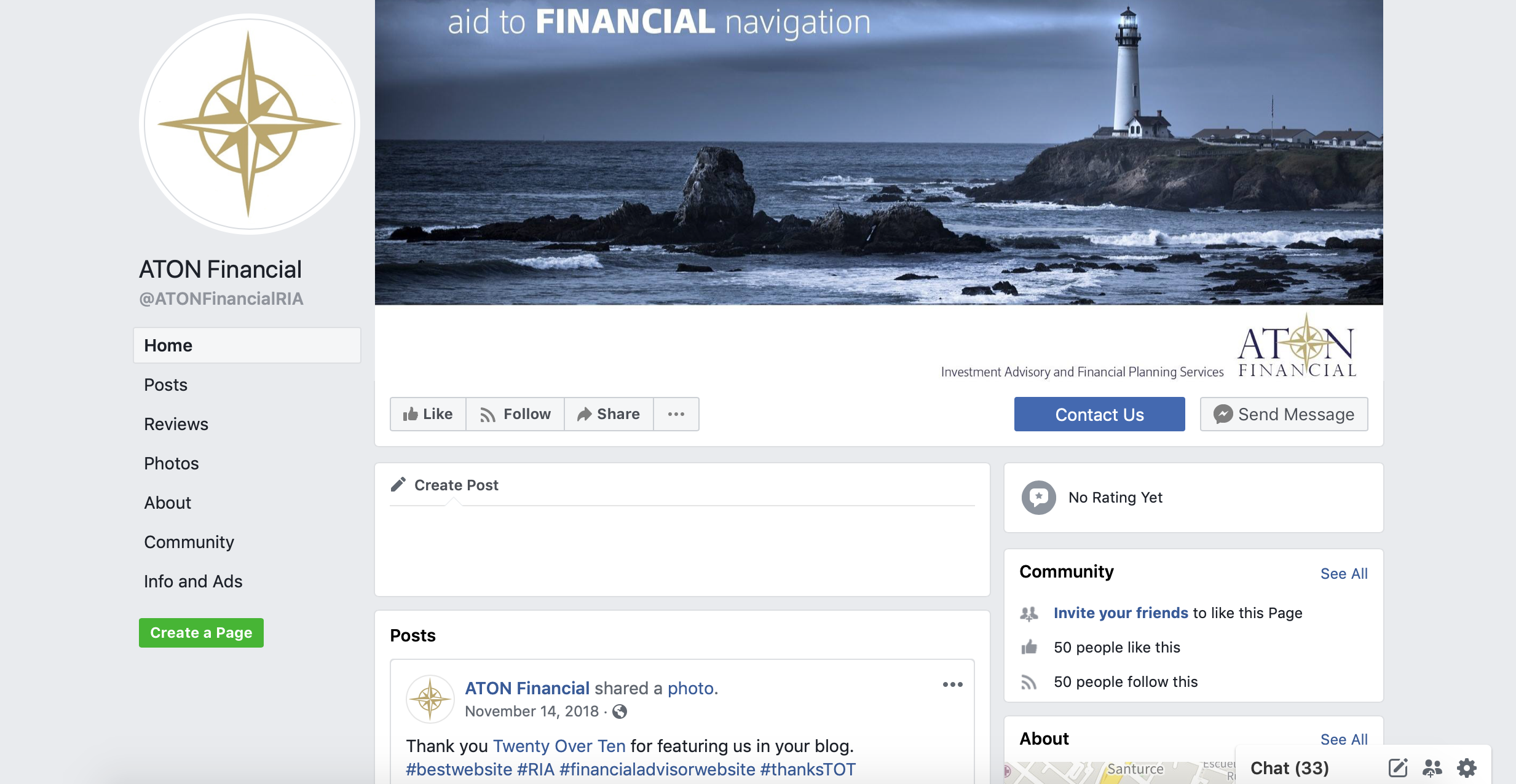 aton financial, financial advisor facebook business page