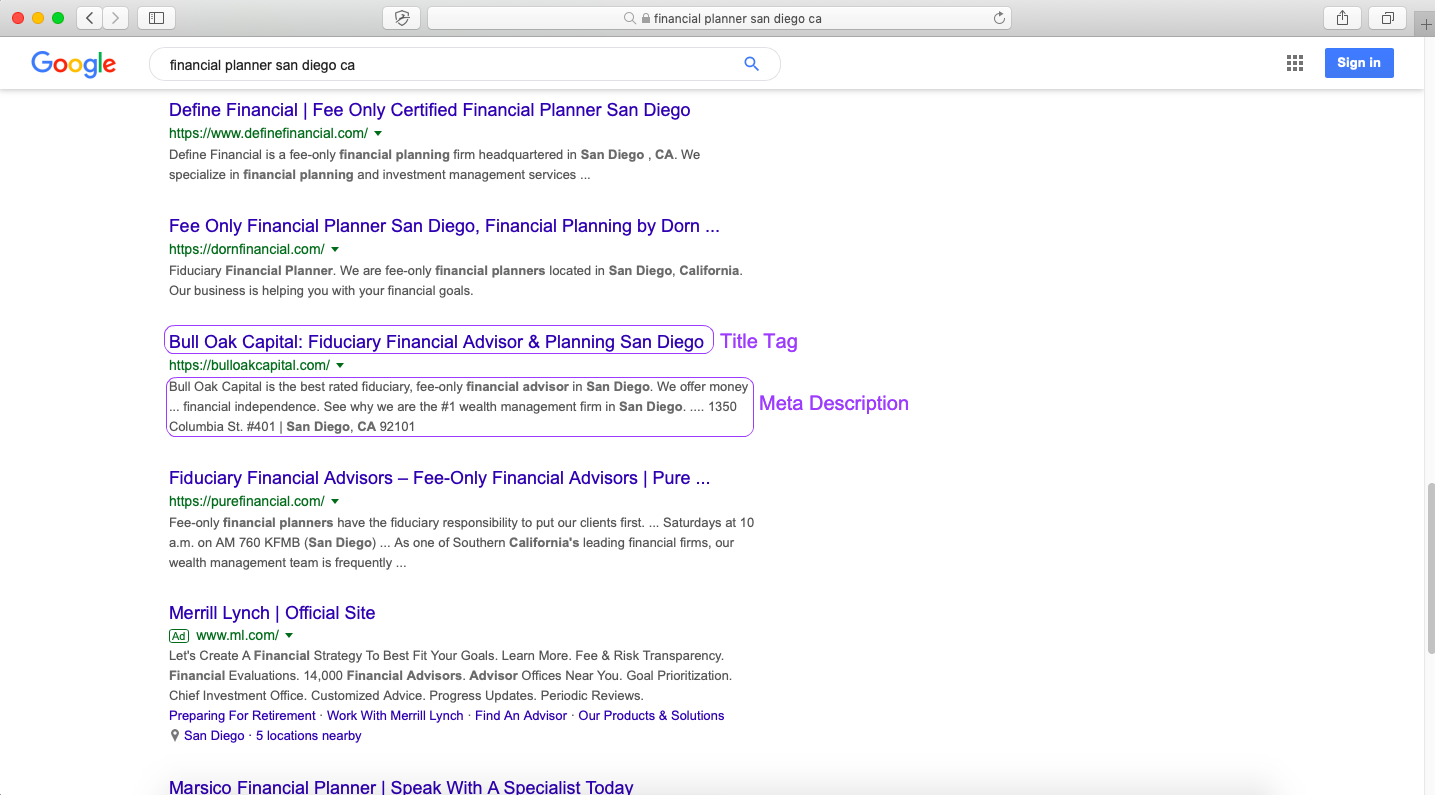 example of title tag and meta description in serp