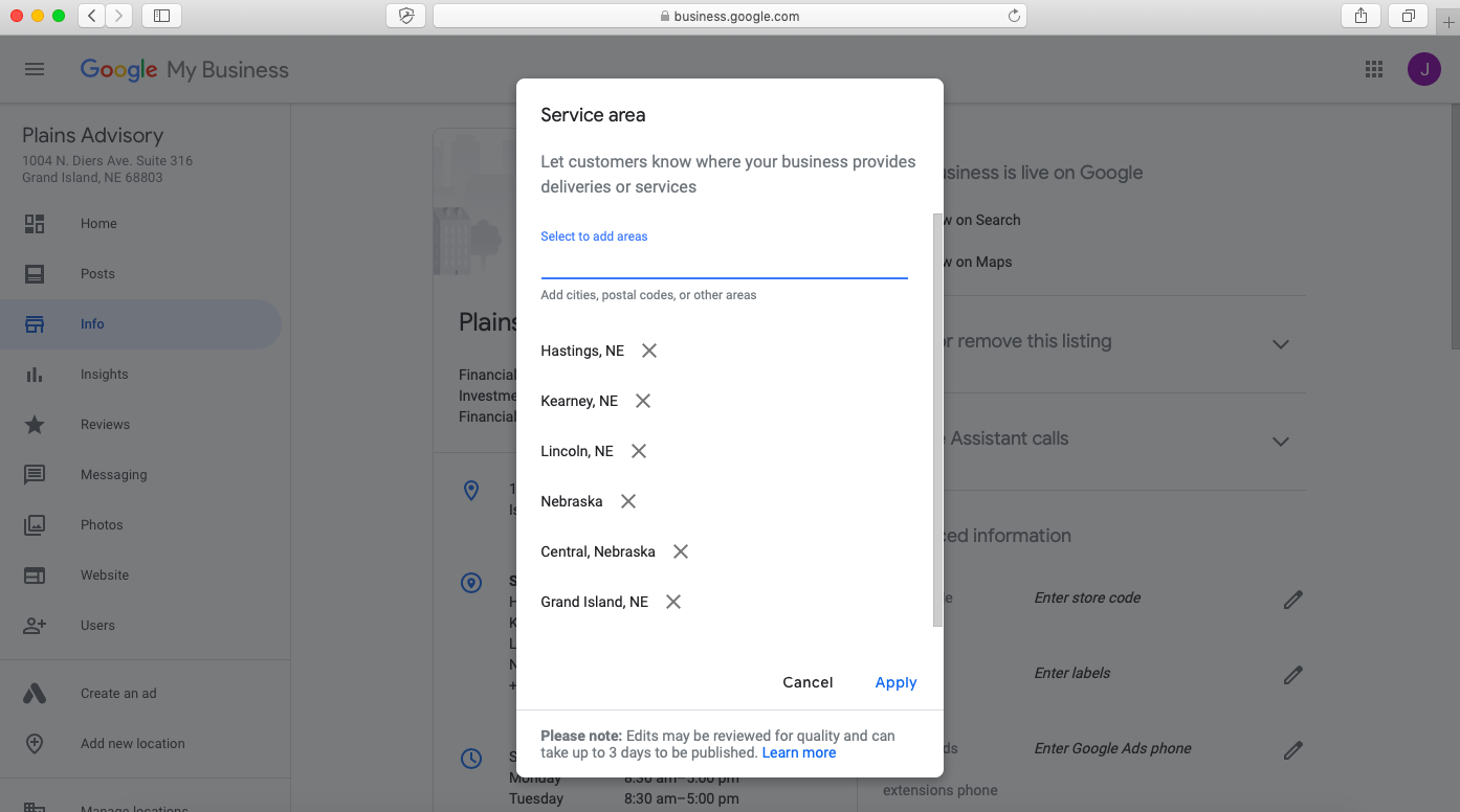 adding service area to google my business listing