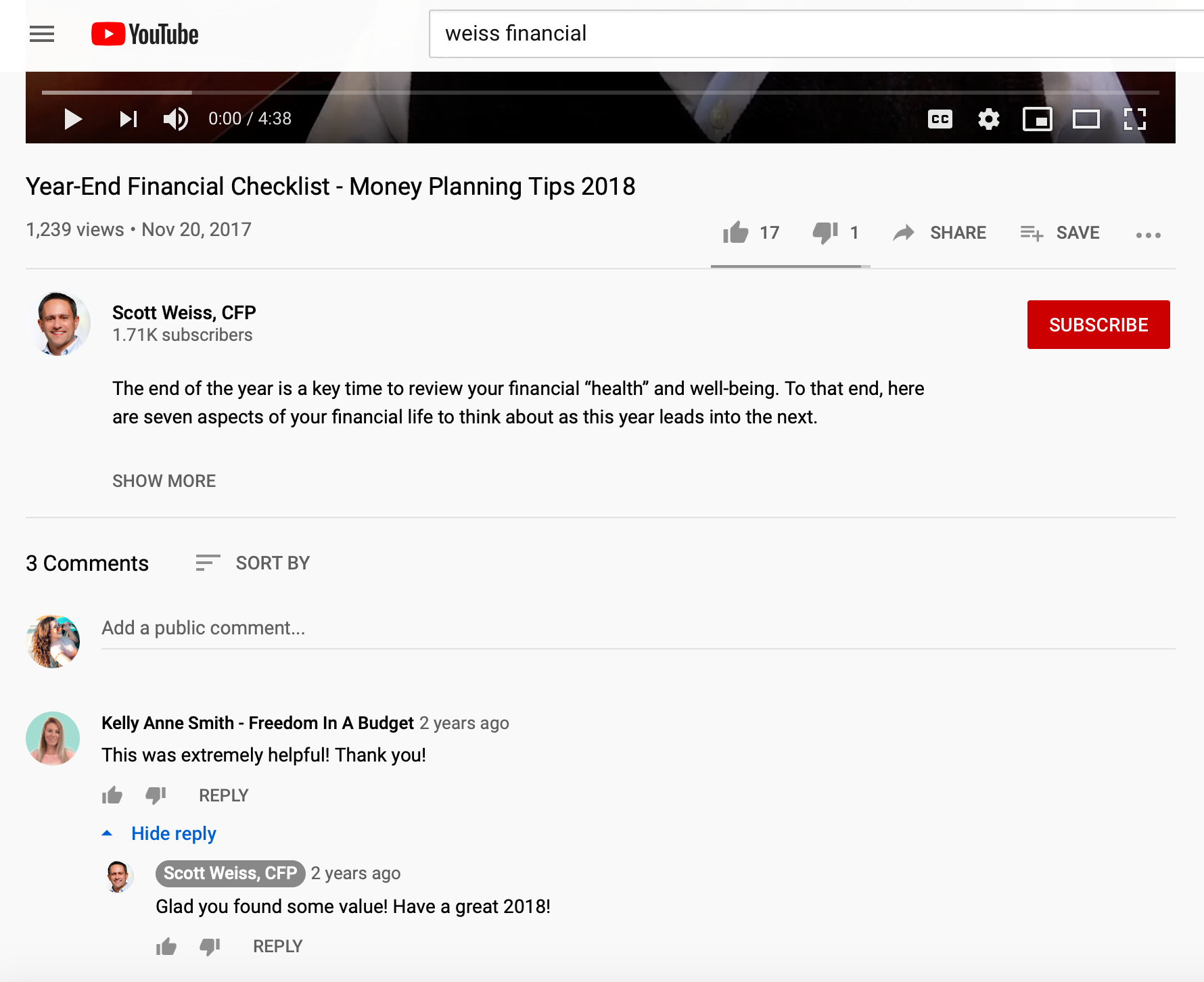 weiss financial YouTube interaction