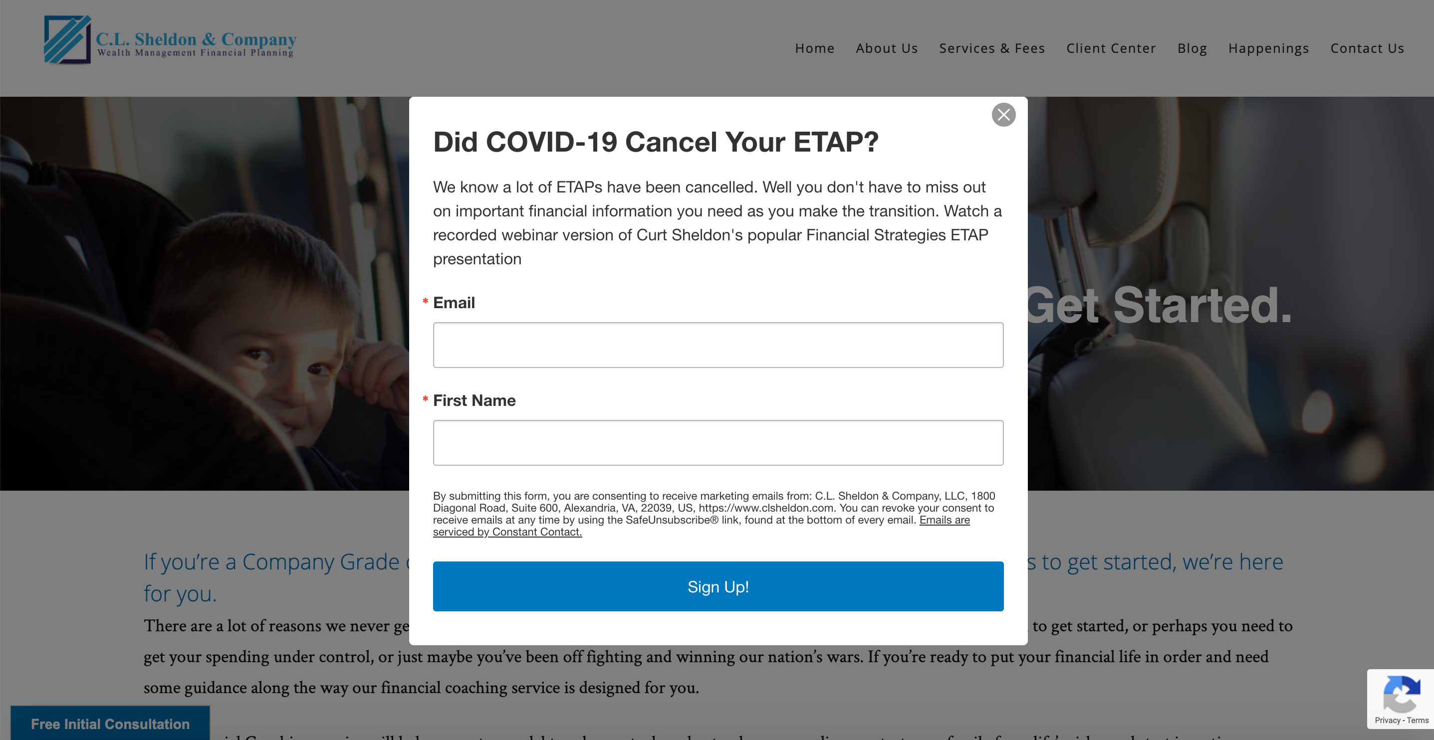 Example of gated content for veterans financial advisor
