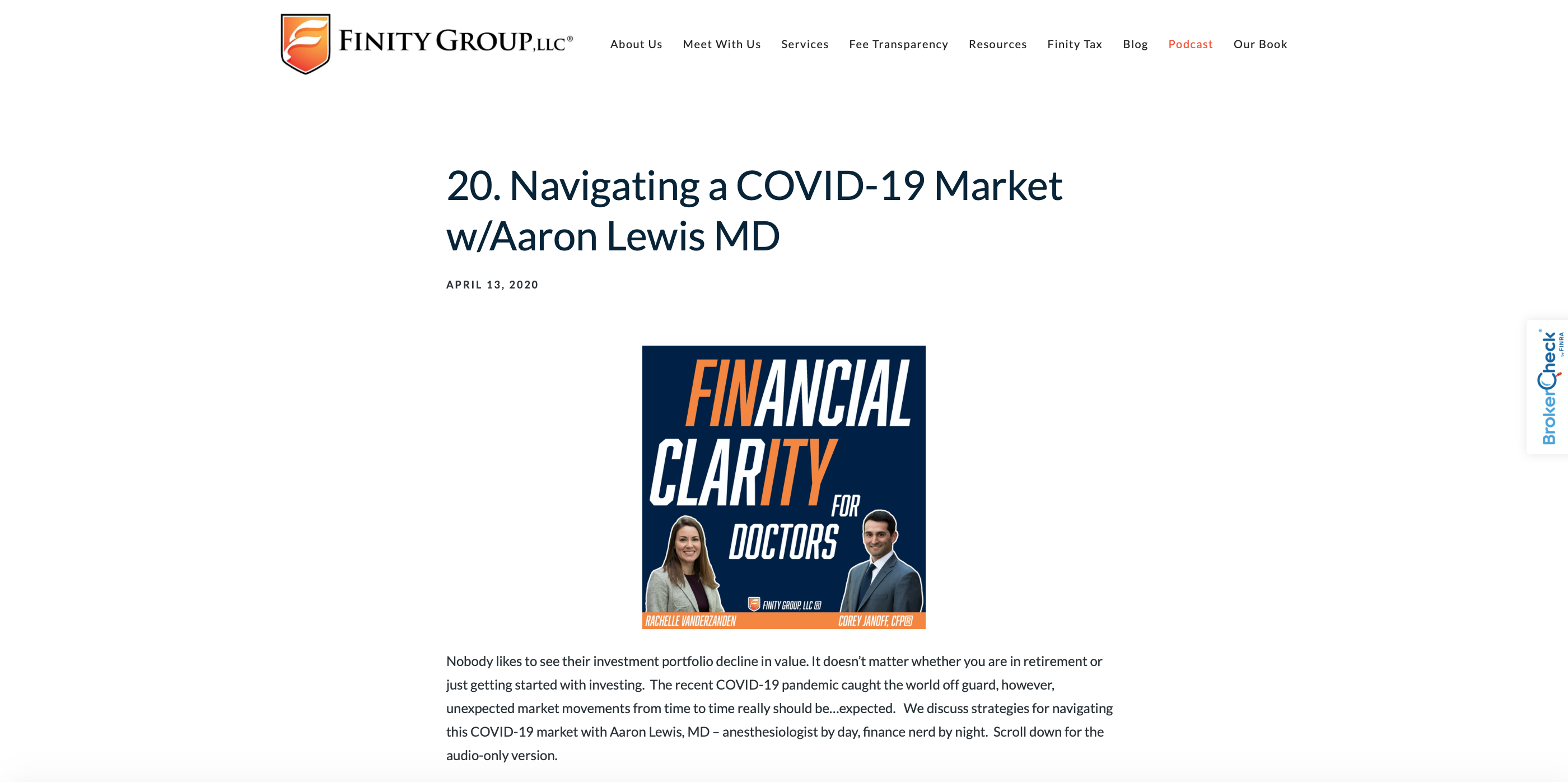 Finity Group LLC example of stock market summary for physicians
