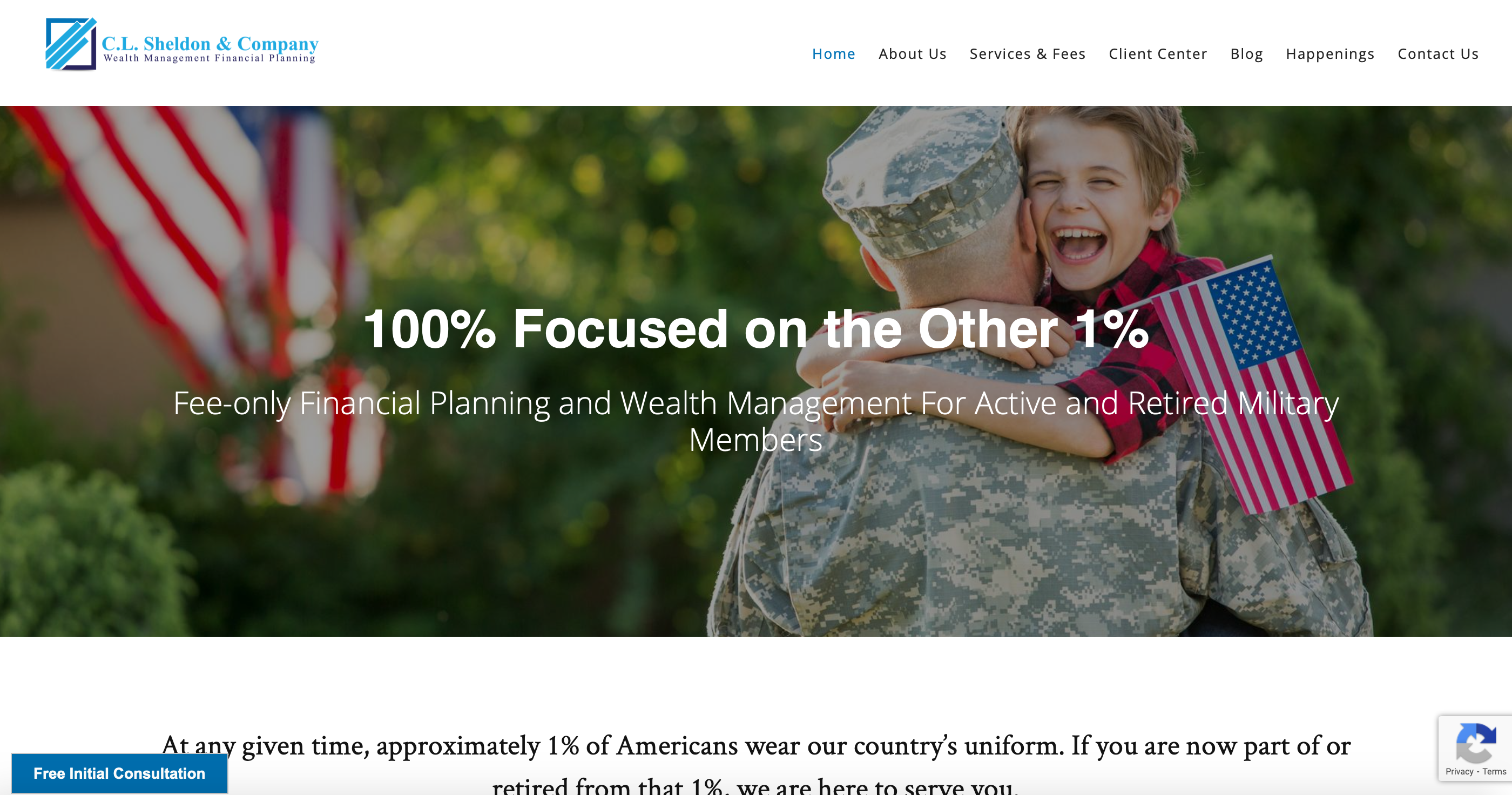 CL Sheldon and Company financial planning for military homepage