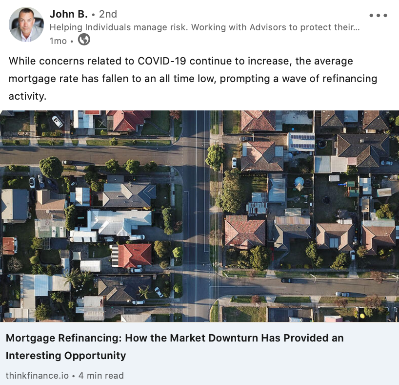 COVID-19 effect on mortgage social media post on LinkedIn