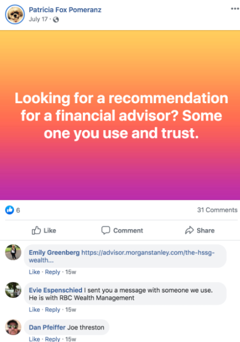 Advisor Recommendation Social Media Example