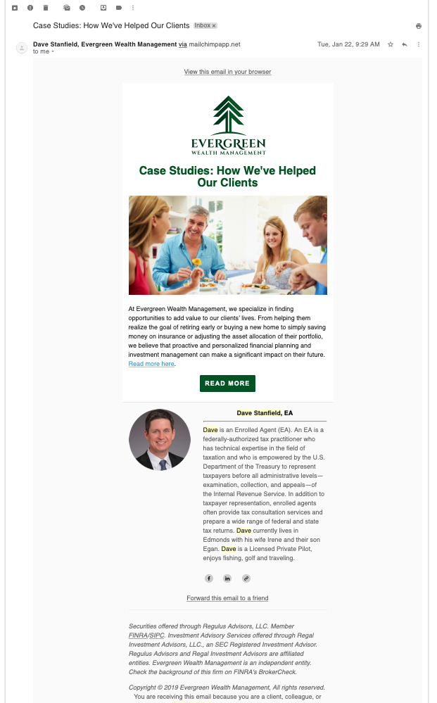 best financial advisor email marketing campaign - evergreen wealth management