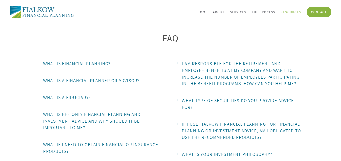 financial advisor faq page example
